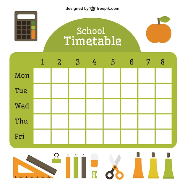 Flat school timetable with essential accessories Vector – School Time Table Designs