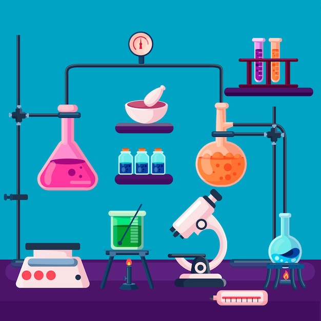 Flat science lab concept Free Vector