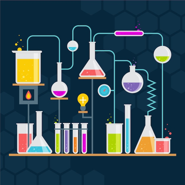 Flat science laboratory Free Vector