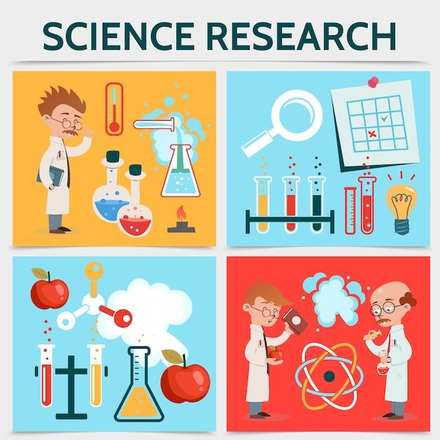 フラット科学研究の概念 無料ベクター