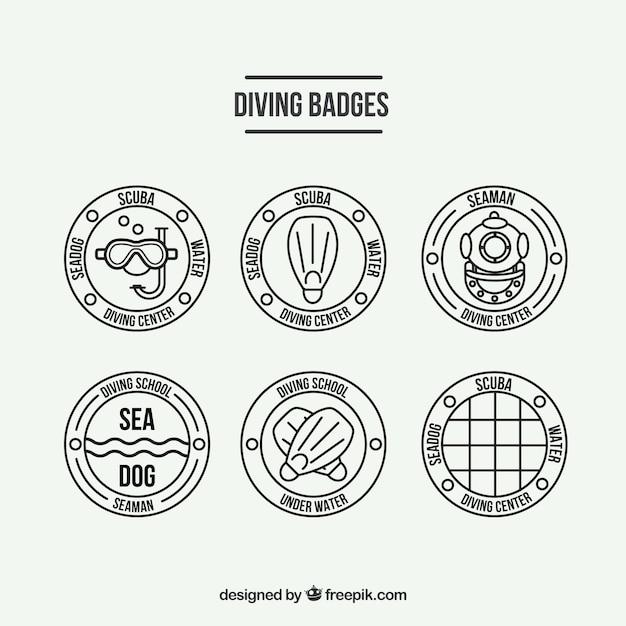 Flat scuba diving badges Free Vector