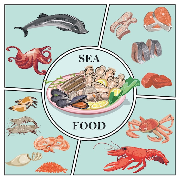 Flat sea food composition with sturgeon crab lobster prawns shrimps caviar herring zander trout meat mussels oysters Free Vector