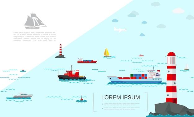 Плоский морской транспорт красочный шаблон Бесплатные векторы
