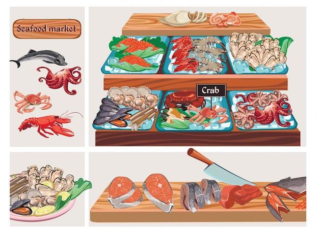 平らな魚介類市場構成とチョウザメタコカニロブスターキャビアムール貝エビエビイカホタテザンダーサーモンニシン魚カウンターの肉 無料ベクター