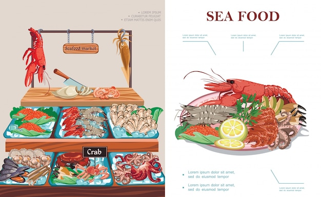 Flat seafood market concept with plate of sea food lobster squid caviar prawns shrimps mussels oysters crab scallops octopus on counter Free Vector