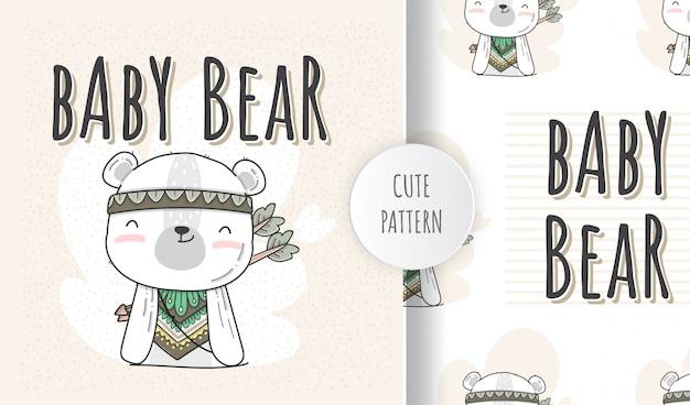 Плоский бесшовные модели милый животных ребенка медведь стиль бохо Premium векторы
