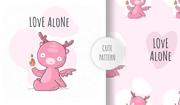 Flat seamless pattern cute baby dino pink Premium Vector