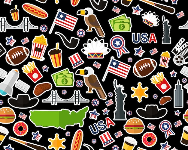 Flat seamless texture pattern united states of america Premium Vector