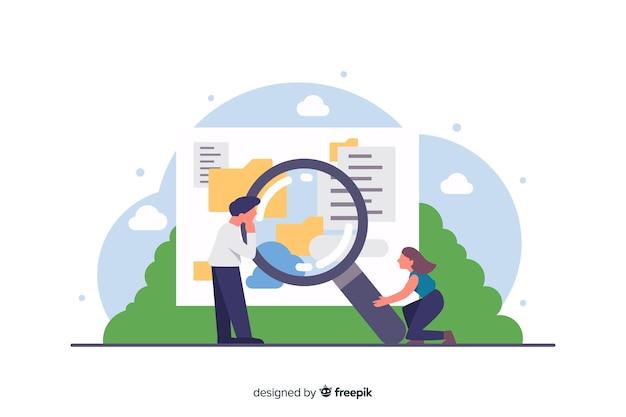 Плоская концепция поиска для целевой страницы Бесплатные векторы