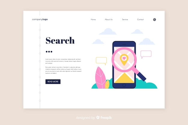 Flat search landing page template Free Vector
