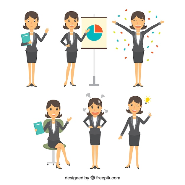 Flat selection of businesswoman character with variety of facial expressions Free Vector
