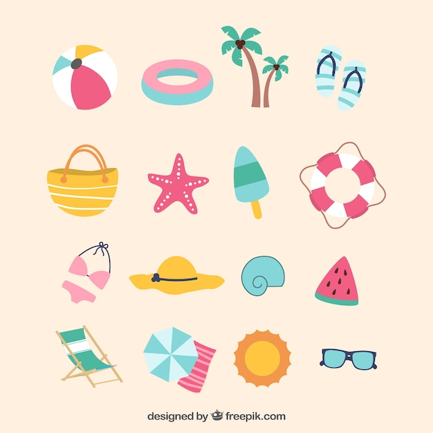 Flat selection of colored summer objects Free Vector
