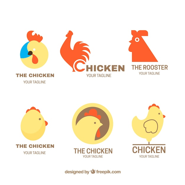 Flat selection of fantastic logos with chickens Free Vector