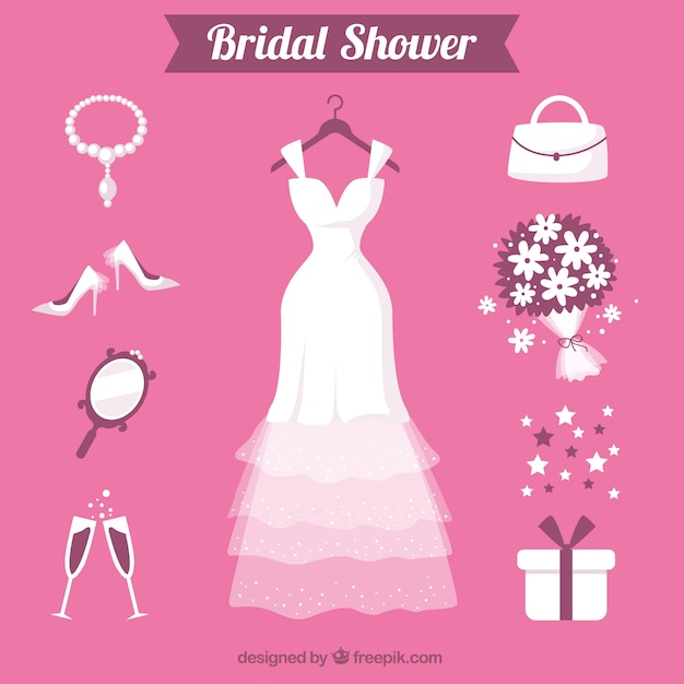 Flat selection of female accessories for wedding Free Vector
