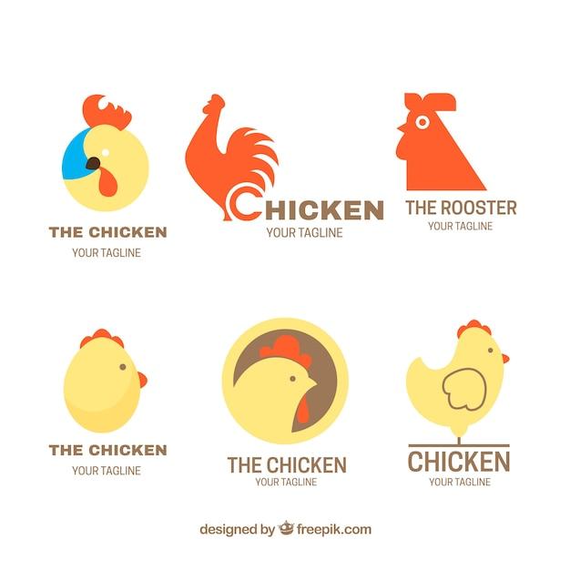 Fantastic Chicken Logos In Flat Design