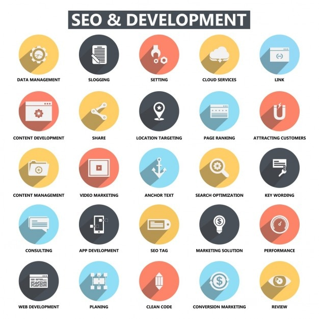 flat seo development icons vector