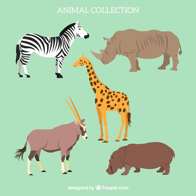 Flat set of african animals Free Vector