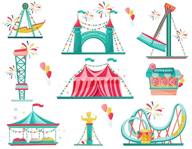 Flat set of amusement park icons. funfair attractions, entrance gate, circus tent and shooting gallery Premium Vector