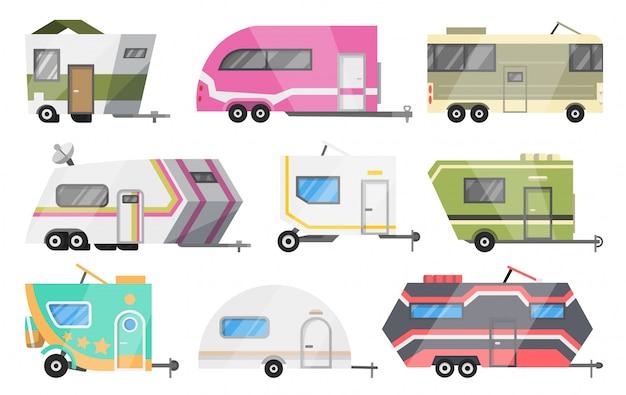 Premium Vector Flat Set Of Classic Camper Vans And Trailers Recreational Vehicles Home On Wheels Comfort Cars Caravan Van For Rv Family Trip To Nature