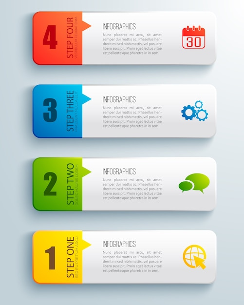 Flat set of colorful ordered horizontal business infographic with text field isolated Free Vector