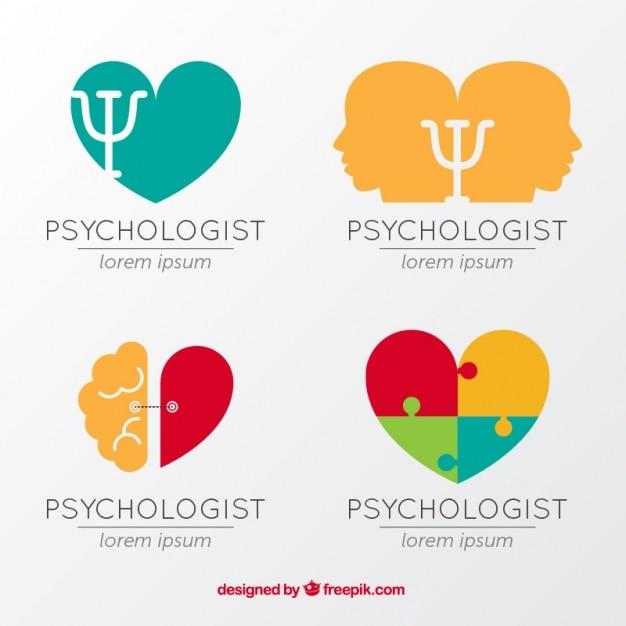 Flat set of colorful psychology logos Free Vector