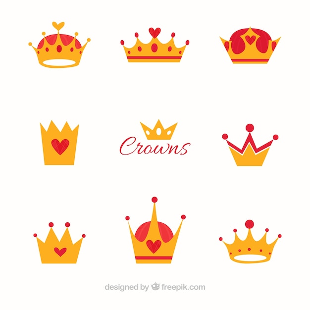 Flat set of crowns with red elements Free Vector