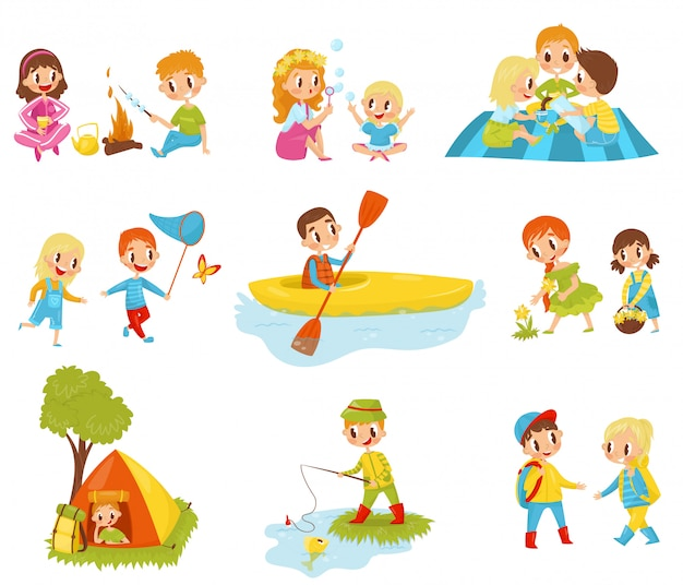 Flat set of little kids doing different activities. fishing, cooking marshmallow on fire, picking flowers, kayaking, catching butterfly Premium Vector