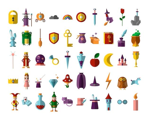 Flat set of magical halloween, illusionist, fairy tales items. Premium Vector