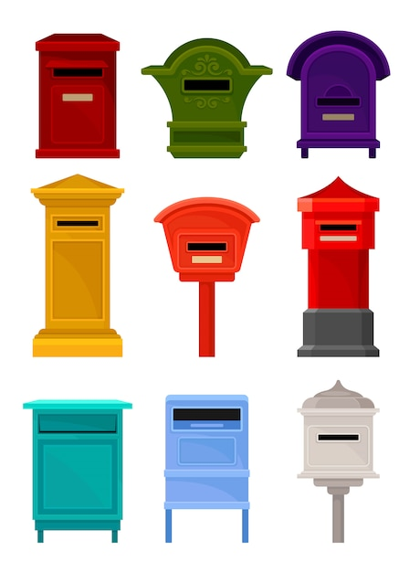 Flat set of mailboxes. colorful containers for letters and newspapers. iron postal boxes for correspondence Premium Vector