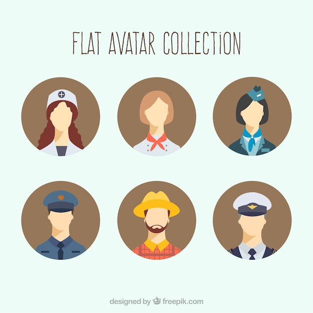 Flat set of modern workers avatars Free Vector