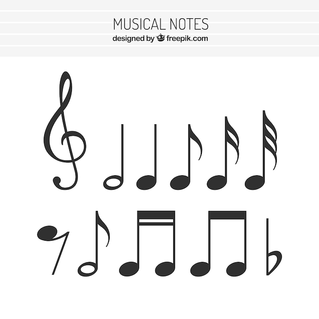 Flat Set Of Musical Notes Vector Free Download