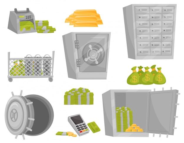 銀行アイコンのフラットセット。紙幣カウンター、金の延べ棒、お金の袋、金庫の扉、預金箱。財務テーマ Premiumベクター