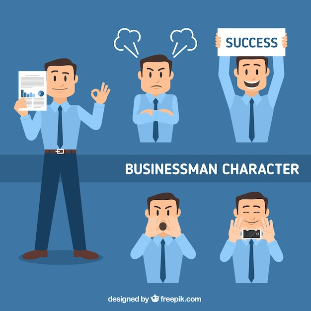 Flat set of businessman character in different postures Free Vector