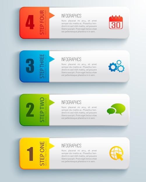 고립 된 텍스트 필드와 다채로운 주문 된 수평 비즈니스 infographic의 평면 세트 무료 벡터
