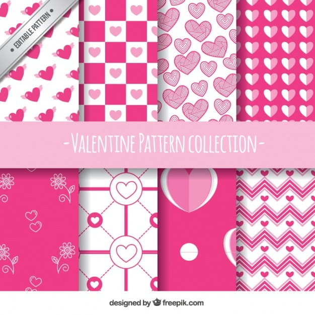 Flat set of eight white and pink patterns for valentine's day Free Vector