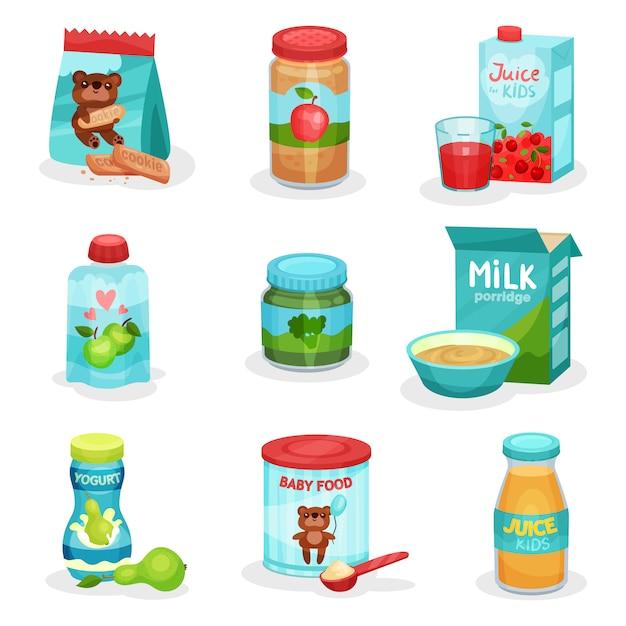 Плоский набор продуктов питания и напитков для детей. натуральные йогурты и соки, фруктовое и овощное пюре, печенье и каша Premium векторы