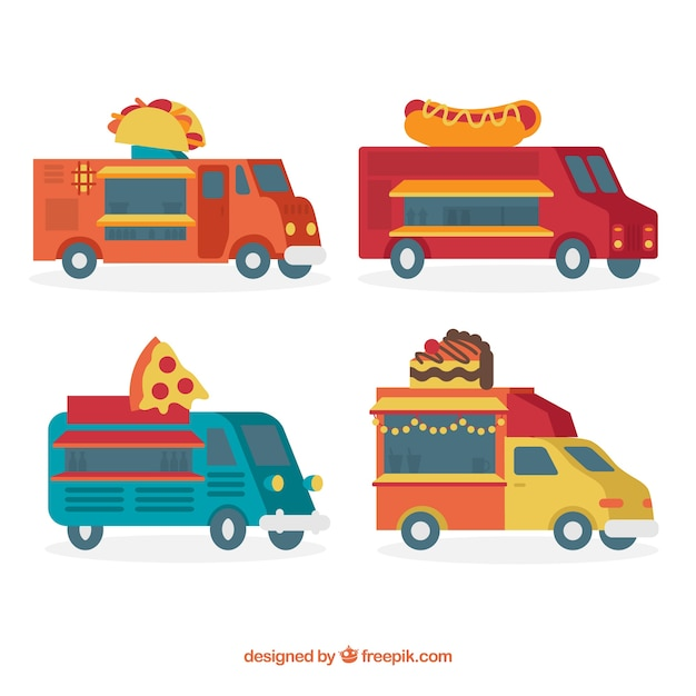 Flat set of food trucks with fast food
