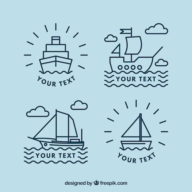 Плоский набор из четырех линейных лодочных логотипов Бесплатные векторы
