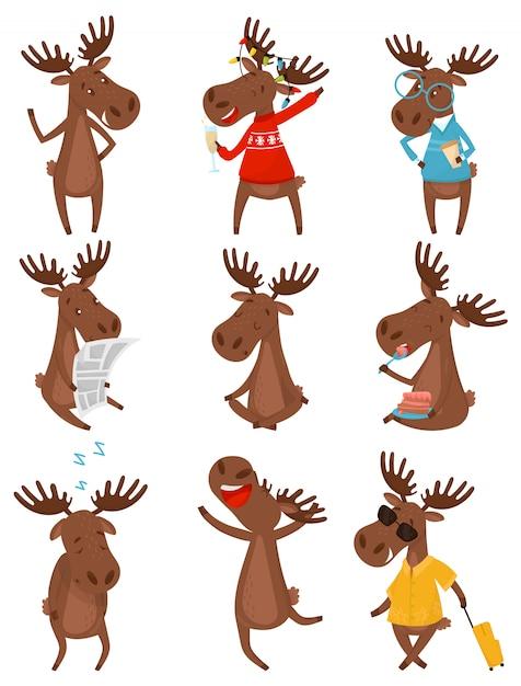 Плоский набор забавного коричневого лося в различных действиях. дикий лесной зверь с большими разветвленными рогами Premium векторы