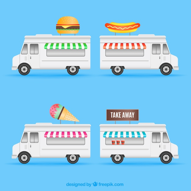 Flat set of modern food trucks