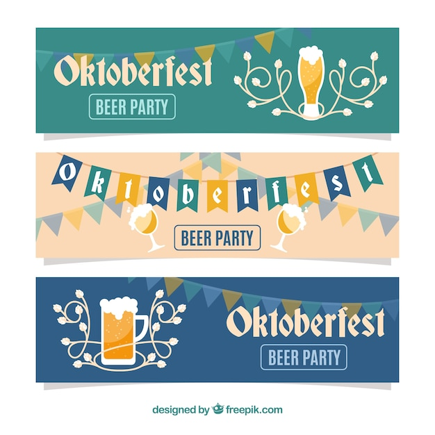 Flat set of oktoberfest banners