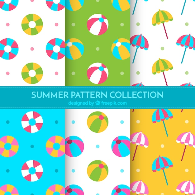 Flat Set Of Summer Patterns With Decorative Items Free Vector