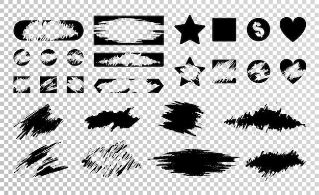 さまざまな黒スクラッチカード分離イラストのフラットセット 無料ベクター