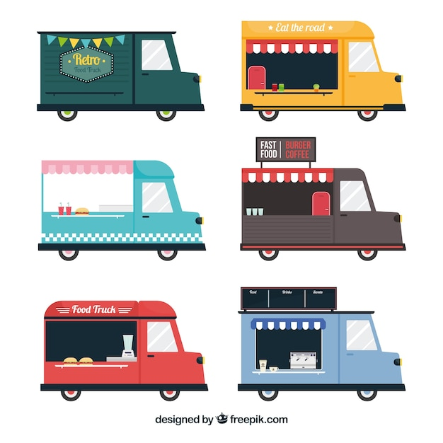 Flat set of vintage food trucks