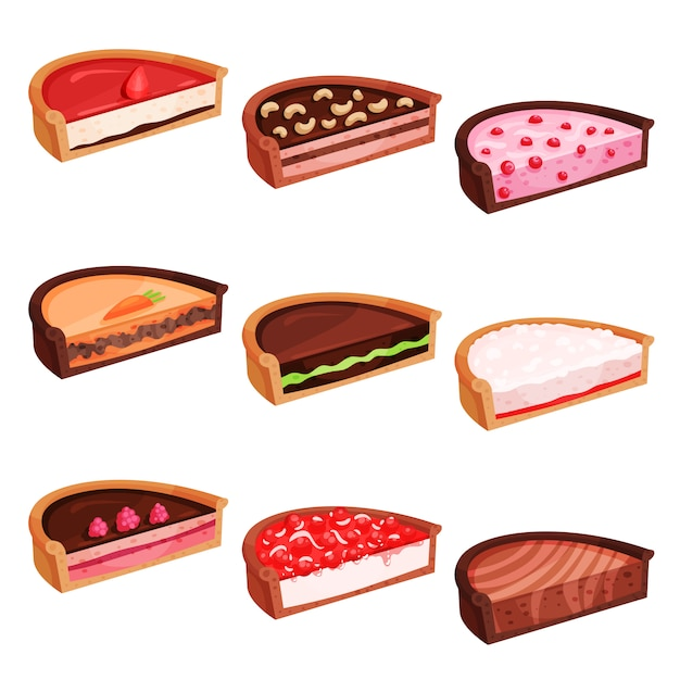 Flat set of pies halves with different flavours. delicious and sweet dessert. confectionery products Premium Vector