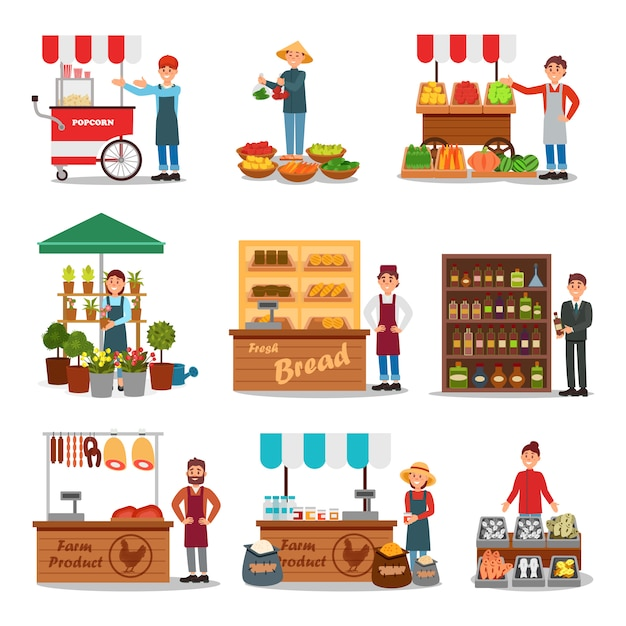Flat   set of street vendor selling various products. seller near cart. local farmers market. fresh food on counters Premium Vector