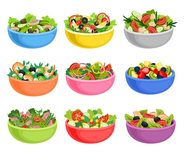 Flat   set of vegetable and fruit salads. appetizing dishes from fresh products. organic and healthy food Premium Vector