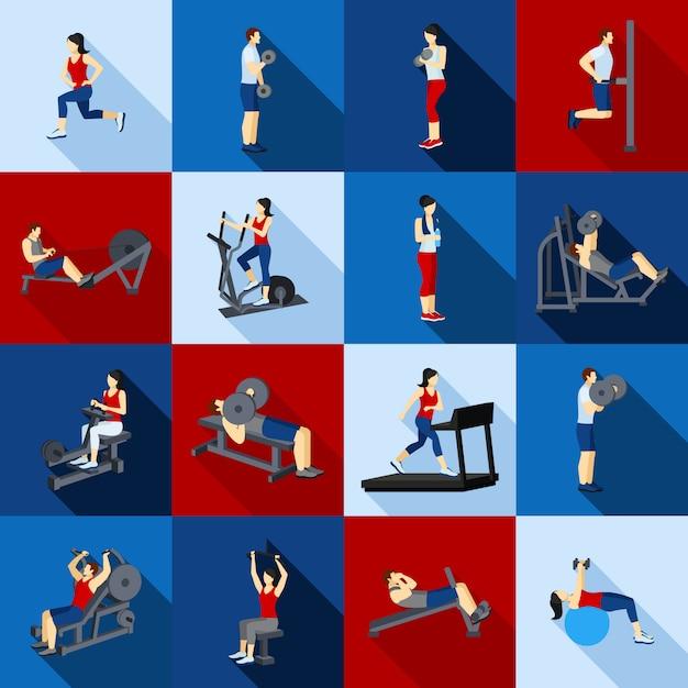 Тренажерный зал тренировка люди flat set Бесплатные векторы