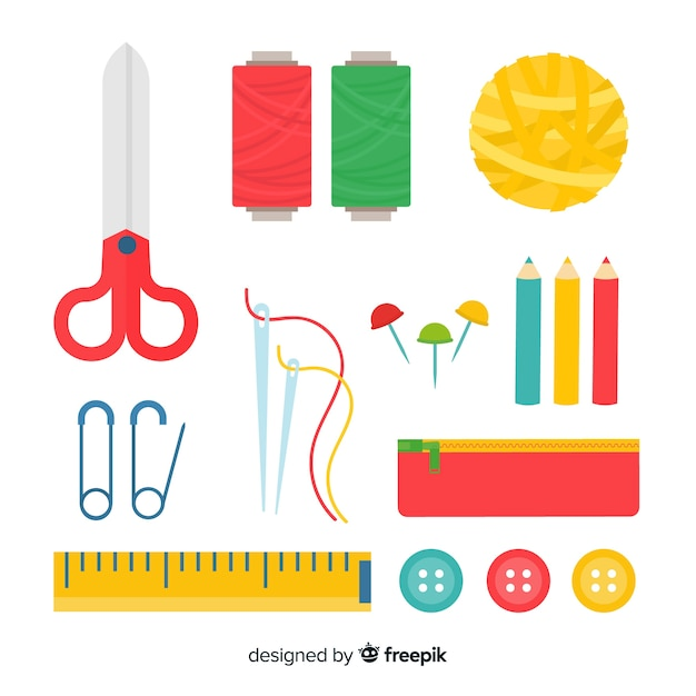 Flat sew element pack Free Vector