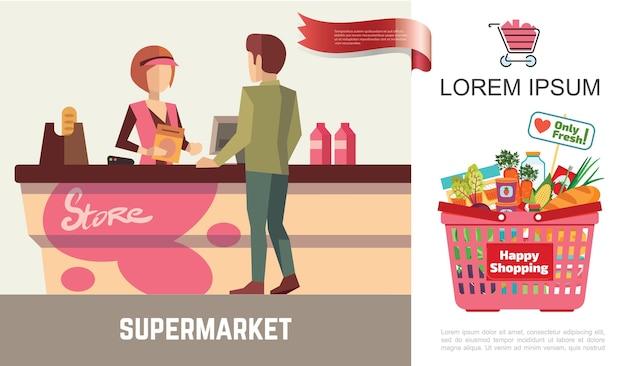 Плоские покупки в концепции супермаркета Бесплатные векторы